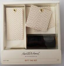 Hearth & Hand w/ Magnolia Gold Chevron Gift Tag Set w/ Black Ribbon 8 Pieces