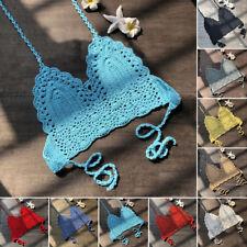 Women Crochet Lace Bralette Knit Bra Beach Bikini Halter Tank Crop Top Vacation