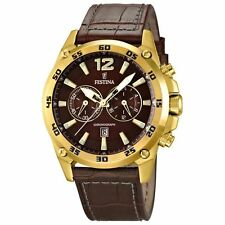 New Festina F16880/2 Mens Brown Dial Analog Quartz Watch with Leather Strap
