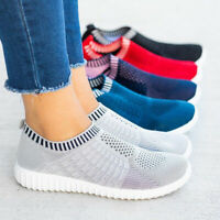 Casual Women's Solid Sport Gym Shoes Ladies Breathable Platform Slip-On Flats SF