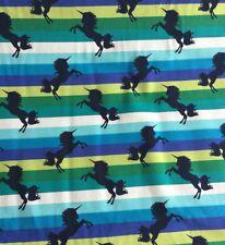 Green Multi Rainbow Unicorn Stripe Cotton Elastin Jersey Half Meter Harem Knit