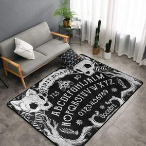Luxury Super Soft Indoor Modern Cat Skull Head Witch Board Black Gothic Area Rug