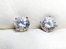 Bergkristall Ohrstecker 925 Silber rhodiniert ca. 6 mm, runde, fac. Steine neu
