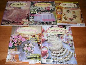 Embroidery Cross Stitch Magazines Heirlooms Candlewick Shadow Work x 5 (c)