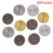 20pcs/set Hollow Flower Filigree Wraps ConnectorCharm Findings Jewelry Making'UK