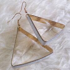 NEW Womens Shinny Brushed Silver Metal Triangle Charm Dangle Drop Hook Earrings