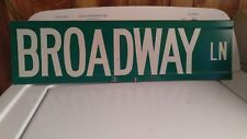 Vtg. Authentic Reflective Green Double Sided Broadway Ln Street Sign 24 x 6 NICE
