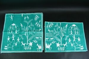 8 Pc. Green 100% Cotton 4 Placemats & 4 Napkins Set Abstract People Tree Animals