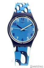 New Swatch Originals IGINO Small Penguins Blue Silicone Watch 33mm GN246 $60