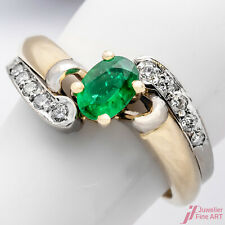 Ring 750/18K Gelbgold Smaragd Emerald Kolumbien Diamanten Brillanten Größe 52