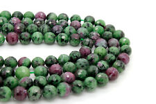 10mm AAA Red Green Ruby Zoisite Faceted Sphere Ball Round Natural Gemstone Beads