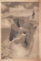 Cartolina - Postcard - Montagna Crepaccio foto G. Muratore Animata anni '30?