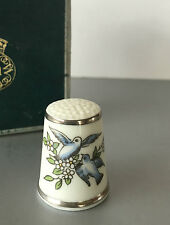 ROYAL WORCESTER - THIMBLE -  BLUE SONG BIRDS DOVES - BOXED
