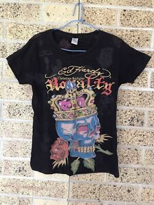 Ladies Ed Hardy By Christian Audigier Black T Shirt Size Small