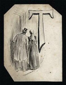 ALFRED BRYAN (1852-1899) Small Pen & Ink Drawing ILLUSTRATION - 19TH CENTURY