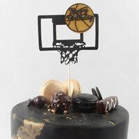 Basketball Cupcake Topper Black Gold Happy Birthday Cake Topper For Birthday: Hs
