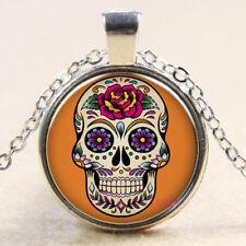 New Charm Vintage Cabochon Glass necklace Silver pendants(sugar skull)#356