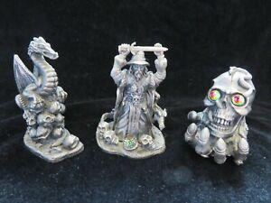 3 x Tudor Mint Myth and Magic Figurines- 3102 3083 3161 Swordmaster Dragon Skull