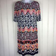 Vince Camuto Dress Short Sleeved Size 6 Navy Pink White Orange Lined Zipper