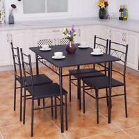 5 PCS Dining Table And Chairs Set, Wood Metal Dining Room Breakfast Furniture
