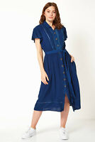 Roman Originals Women Plain Button Through Embroidered Midi Length Shirt Dress