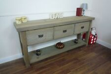 Farmhouse Style Large Console Table - Handmade Sideboard In Weathered Oak Finish