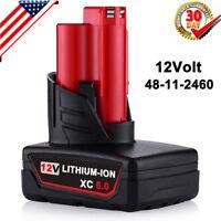 Li-ion For Milwaukee 12V XC 6.0 M12 Cordless Battery pack 48-11-2460 48-11-2430