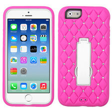 """NEW FOR iPhone 6s / 6 4.7"""" PINK WHITE DIAMOND STAND COVER CASE + GLASS"""