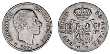 10 CENTS / 10 CENTAVOS PESO. Ag. ALFONSO XII. PHILIPPINES-FILIPINAS 1883. VF/MBC