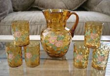 West Virginia Amber Polka Dot Apple Blossom Enamel Decorated Lemonade Set Rare!