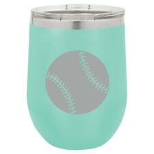Stemless Wine Tumbler Coffee Travel Mug Glass Baseball Softball