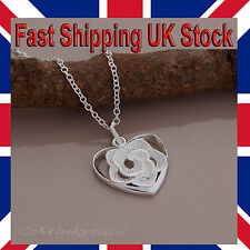 """Ladies 925 Silver Flower Heart Necklace Rose Pendant 18"""" 925 Girls Free Gift Bag"""