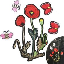 Poppy flower Iron on patch set - bee butterfly ANZAC symbol iron-on patches