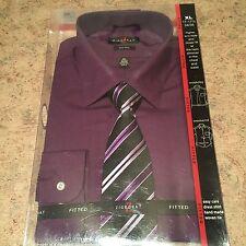 Ziggurat Black And Purple Tie With Free XL Fitted Purple Dress Shirt New In Box