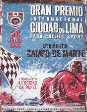 LIMA PERU 1959 RACING METAL SIGN 8x10in pub bar shop  diner garage grand prix