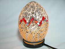 """Mosaic Glass table lamp, Silver/Gold Egg Shaped 8"""""""