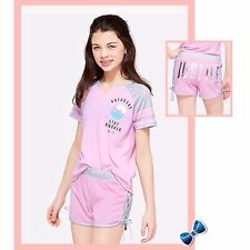 JUSTICE Girls Size 6-7 Saturday Football Pajama Set Top/Shorts Pink