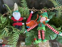 Lot of 3 Fabric and Felt Santa Claus Bird and Elf Hanging Christmas Ornaments