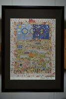 Lithographie, James Rizzi, A Village for the World, handsigniert