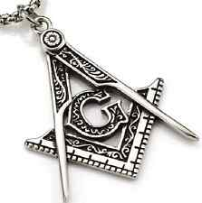 Stainless Steel Masonic Compass Square Pendant Necklace Key Chain Master Masons