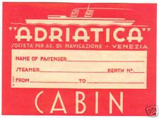 ITALY NAVIGATIONE VENEZIA ADRIATICA OLD LUGGAGE LABEL