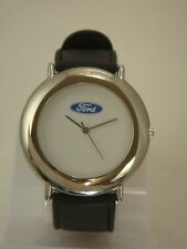 COLLECTABLE FORD MEN WATCH SILVER CASE WITH WHITE DIAL AND BLACK GENIUNE BANDS