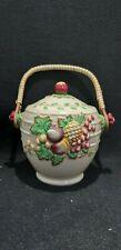 Vintage Staffrdshire Pottery Clarice Cliff A J Wilkinson Biscuit Barrel Fruit