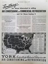 1936 York air conditioning Refrigeration US map of manufacturing plants ad
