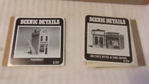 HO Scale Woodland Scenics Pharmacy, Doctor's Office, Shoe Repair Metal Kits