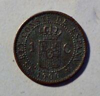 España / Spanien 1 Centimo 1906 - Alfonso XIII - ss-vz / vf - xf erhalten
