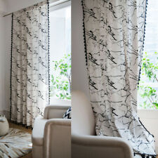 Marble Pattern Curtains For Living Room Tassel Boho Cotton Linen Window Drapes