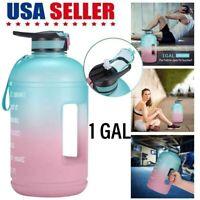 128oz/ 1 Gallon Motivational Water Bottle Time Marker Sports Leakproof BPA Free
