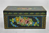 """Black Vintage Mexican Lacquered Painted Floral Design 10"""" Hinged Wooden Box"""