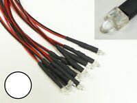 S873 - 10 Stück LED 2mm weiß klar mit Kabel für 12-19V fertig verkabelt LEDs